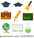 Icon collection set cartoon poster school college 38209063