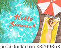 Hello summer woman on pool deck 38209868