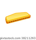 Cartoon illustration of golden harmonica. Small 38211263