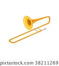 Large golden trumpet trombone. Brass musical 38211269