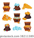 Colored set with full chests and bags of treasures 38211389