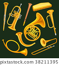 Set of woodwind and brass musical instruments 38211395