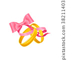 wedding, ribbon, golden 38211403