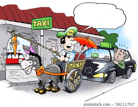 Alternative taxi driver in his wagon 38211707