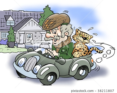 Old rich man driving with a Jaguar on the backseat 38211807