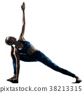 woman fitness Yoga excercises silhouette  38213315