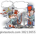 Cartoon illustration of a mechanic 38213655