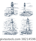 Sketches with lighthouse on island at sea or ocean 38214596