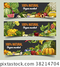 Fruits and vegetables on isolated banners 38214704