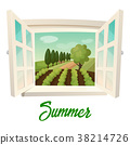Window with view on summer farm or garden 38214726