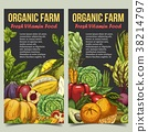 Banner or flyer with vegetables and fruits 38214797
