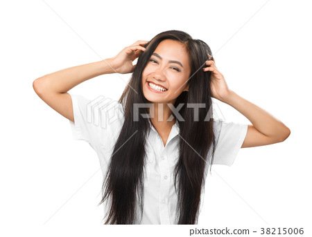 Cheerful young smiling Asian woman with bright smile isolated 38215006
