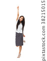 Full body portrait of cheering and dancing Asian woman isolated 38215015