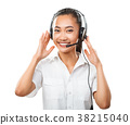 Customer service operator young Asian woman with headset isolated 38215040