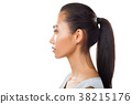 Closeup portrait of Asian young woman in profile with ponytail 38215176