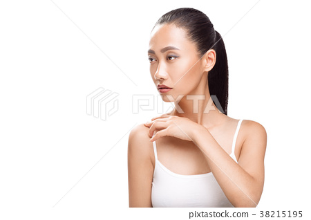 Beauty portrait of cute Asian woman with dreaming face 38215195