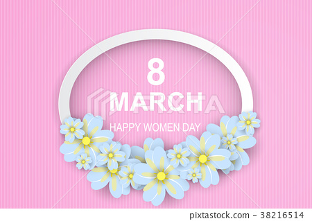 8 March. Happy Women's Day. pink-white 38216514