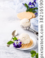 Vanilla ice cream with edible flowers 38216590