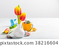 Easter composition with spring tulips 38216604