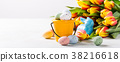 Easter composition with quail eggs and tulips 38216618