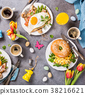 Easter holiday breakfast flat lay 38216621