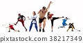 Sport collage about boxing, soccer, american 38217349