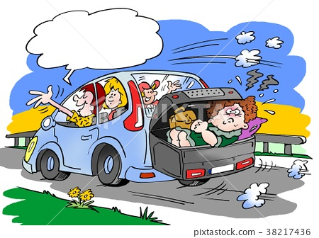 Cartoon illustration of a family on a road trip 38217436