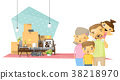 Moving home concept background with happy family 38218970