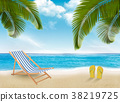 Palm leaves on beach. Vector illustration. 38219725