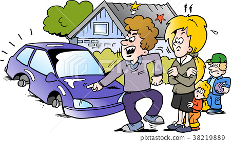 A angry family man pointing at his new auto car 38219889