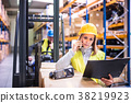 Warehouse workers with smartphone working together 38219923