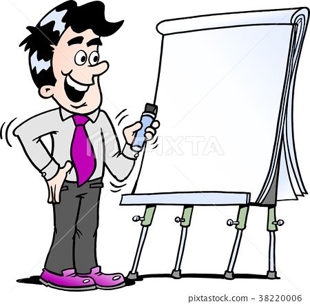Business man standing and looking by a flipchart 38220006