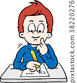 Cartoon illustration of a thoughtful School Boy 38220276
