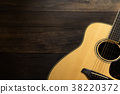 Acoustic guitar on wooden background, copy space. 38220372