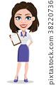Beautiful business woman holding blank clipboard 38220736
