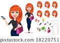 Freelancer woman cartoon character creation set 38220751