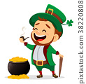 Cartoon funny leprechaun with smoking pipe 38220808