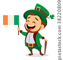 Cartoon funny leprechaun with Irish flag and cane 38220809
