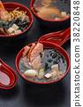 Ramen soup (set) over dark background/. 38220848