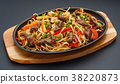 Home made noodles with meat and vegetables. 38220873