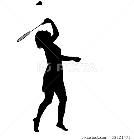 Black silhouette of female badminton player 38221473