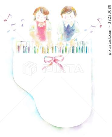 무지개 피아노 아이 연탄 리본 38223089