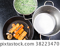 ingredients for cooking spinach soup with croutons 38223470