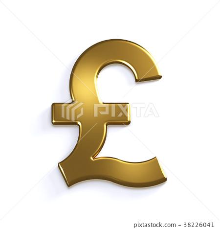 Gold Pound Symbol 3d Render Illustration Stock Illustration