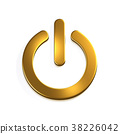Gold Power Button Computer. 3D Render Illustration 38226042