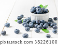 fresh blueberry fruits with leaf on white glass 38226100