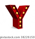 Red Marquee light letter Y sign retro 38226150