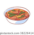 Thai soup with meat isolated vector icon 38226414