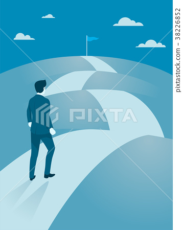 Businessman walking Steady to the top of mountain. 38226852