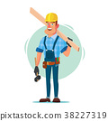Timber Frame House Construction Worker Vector 38227319